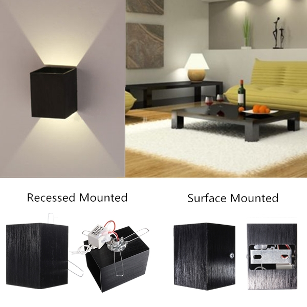 Modern 3w led square wall lamp hall porch walkway living for B q living room lights