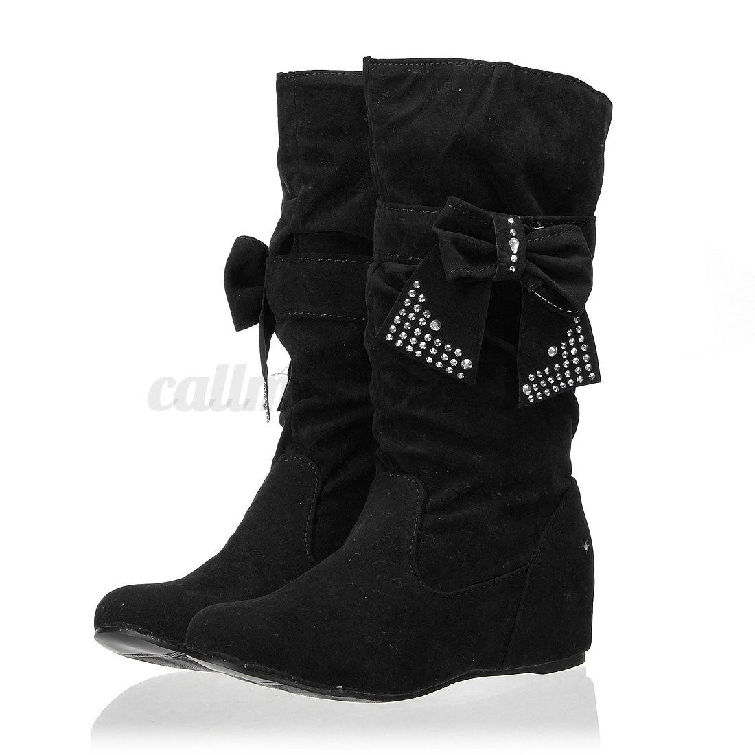 womens mid calf tassels suede boots winter slip on flat