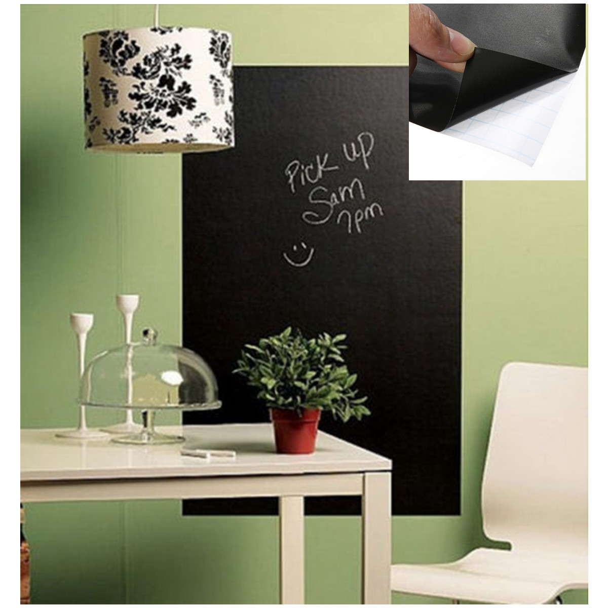 sticker autocollant mural tableau noir ardoise mur avec 4pcs craies 45 200 ebay. Black Bedroom Furniture Sets. Home Design Ideas