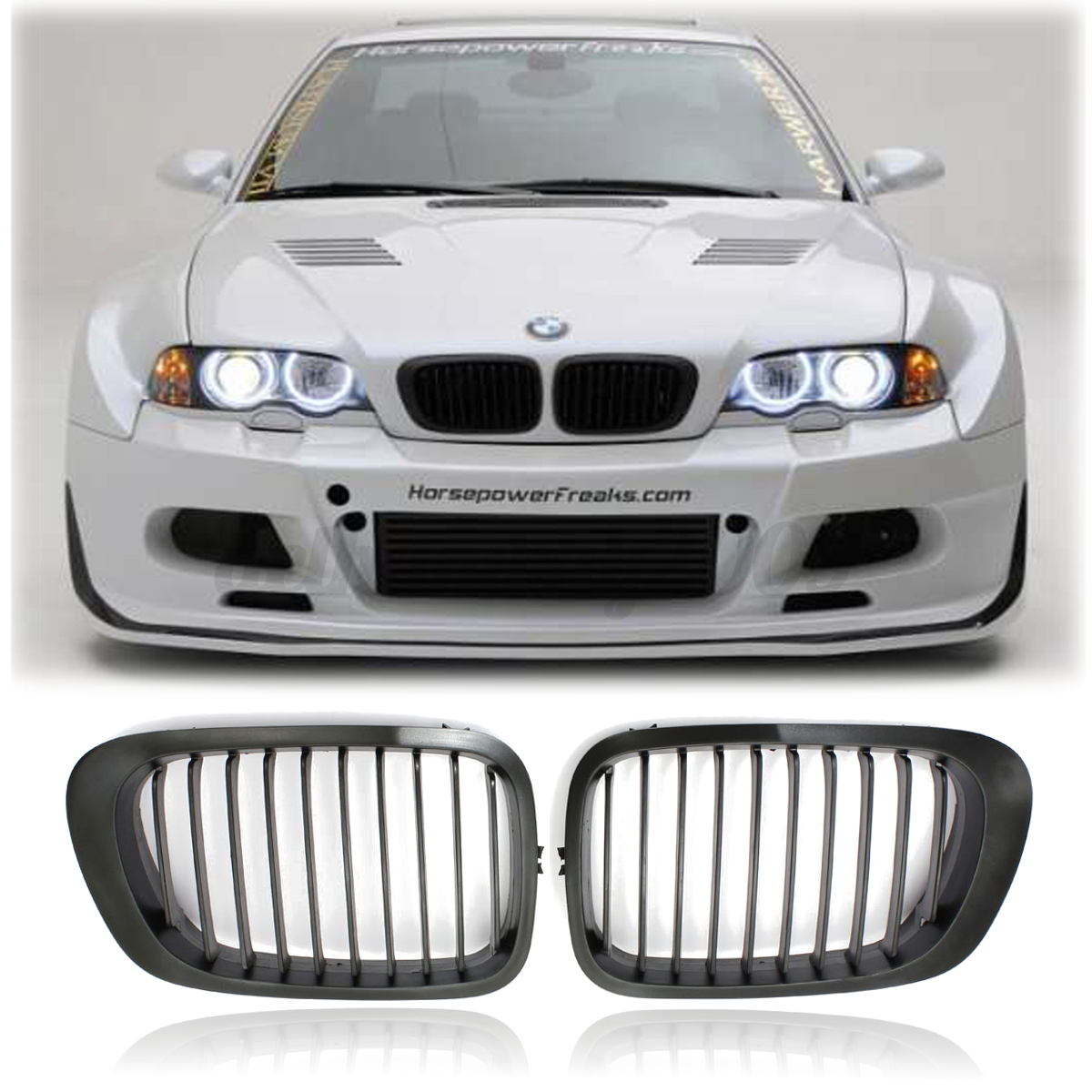 paire de rein avant noir brillant calandre pour bmw e46 s rie 3 coup 2 portes 1999 2003 ebay. Black Bedroom Furniture Sets. Home Design Ideas