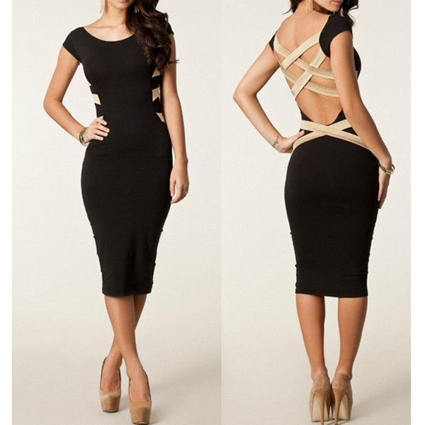 New Women Backless Boydcon Bandage Pencil Dress Party Evening Cocktail Ball Gown