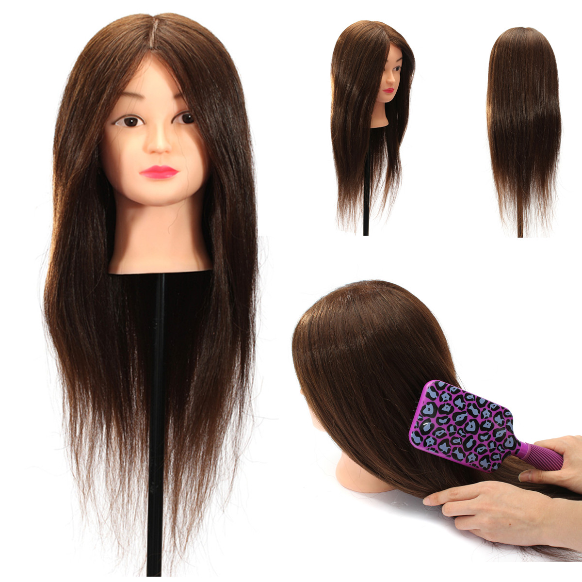 100% Real Human Hair Practice Head Training Mannequin