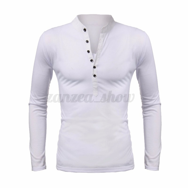 Podom Mens Fitted Top V Neck Casual Shirts Muscle T Shirt