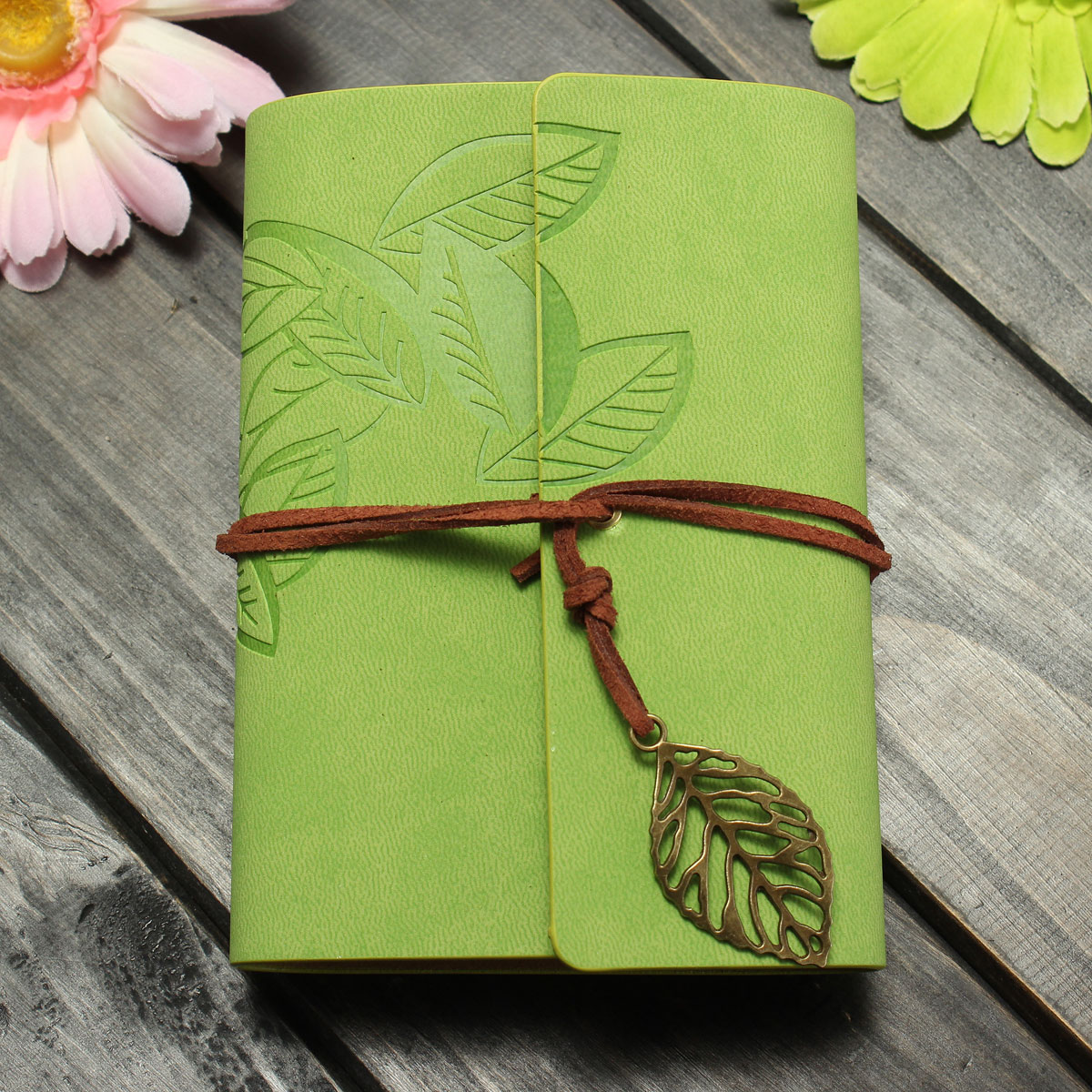 Vintage Embossed PU Leather Cover Blank Leaf Notebook Journal Diary String Gift