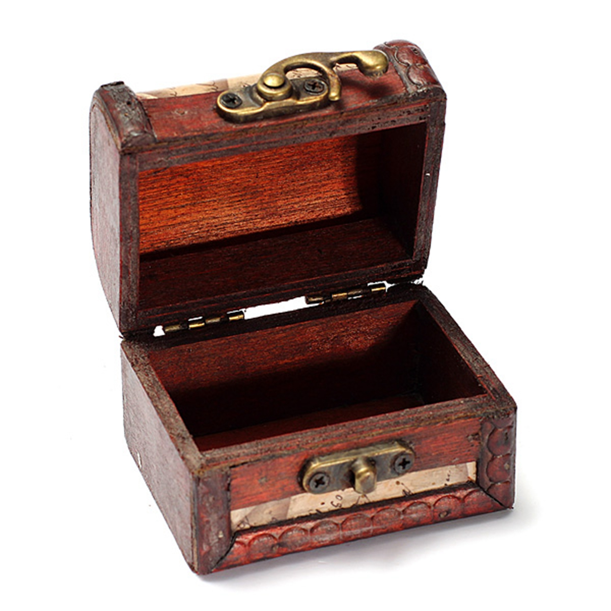 Vintage stamp small metal lock jewelry treasure chest case
