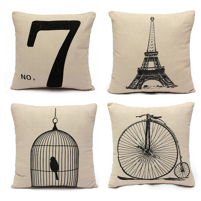 housse de coussin en lin taie d 39 oreiller canap maison cushion cover 43x43cm lit ebay. Black Bedroom Furniture Sets. Home Design Ideas