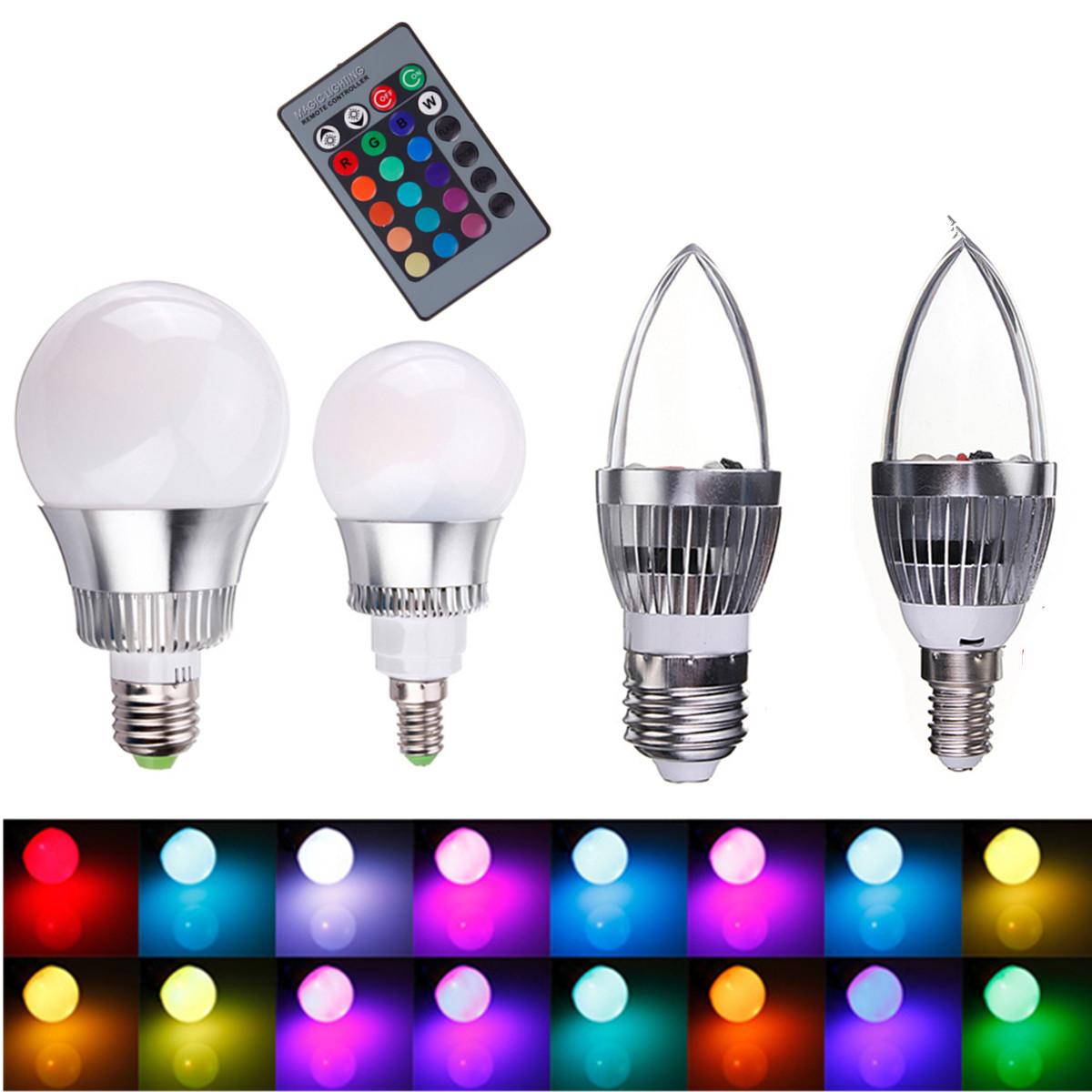 5w 10w lampada e27 e14 rgb led lampadina faretto multicolore luce controller ebay. Black Bedroom Furniture Sets. Home Design Ideas