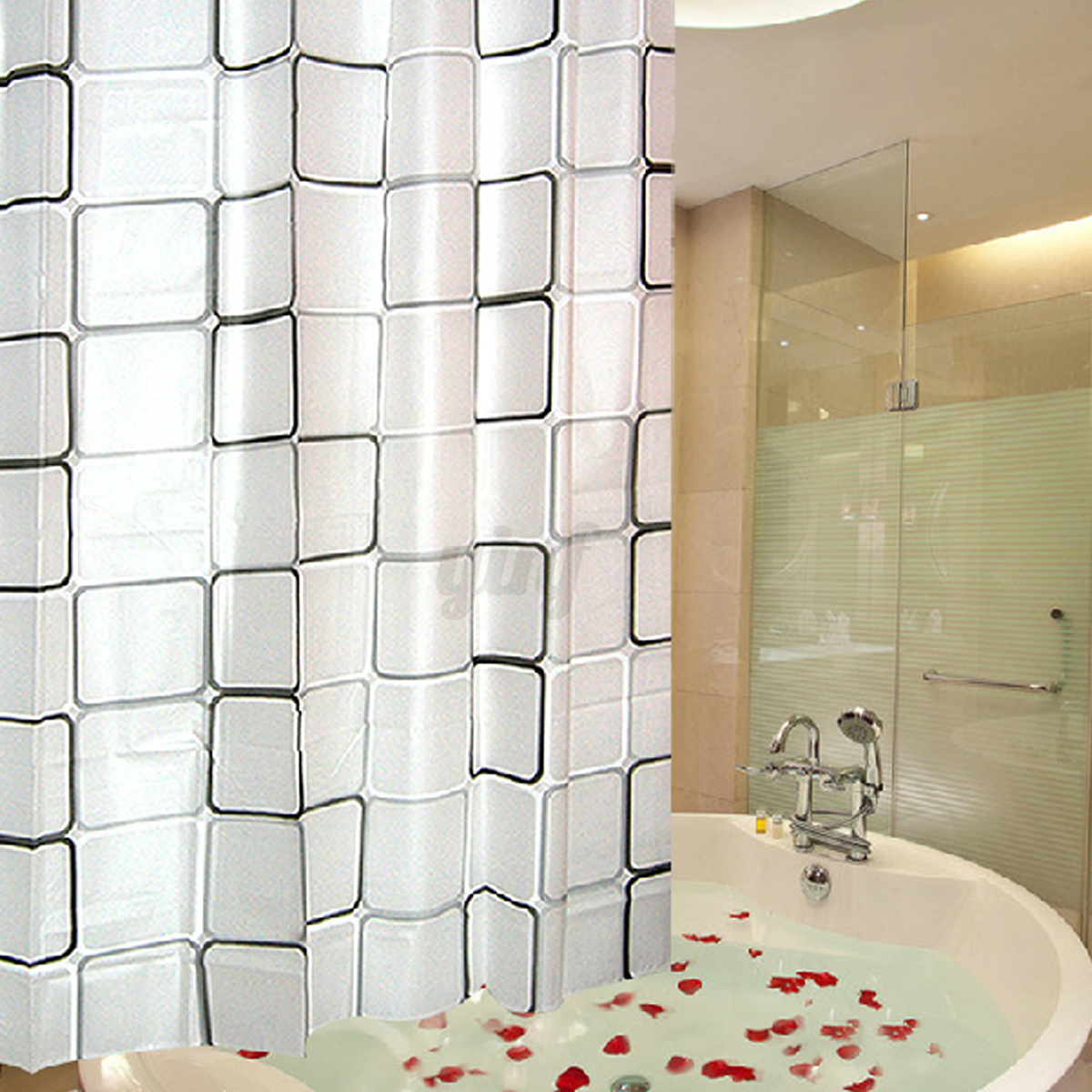Luxury Modern Bathroom Shower Curtains Extra Long With Hooks 180 X 200cm Ebay