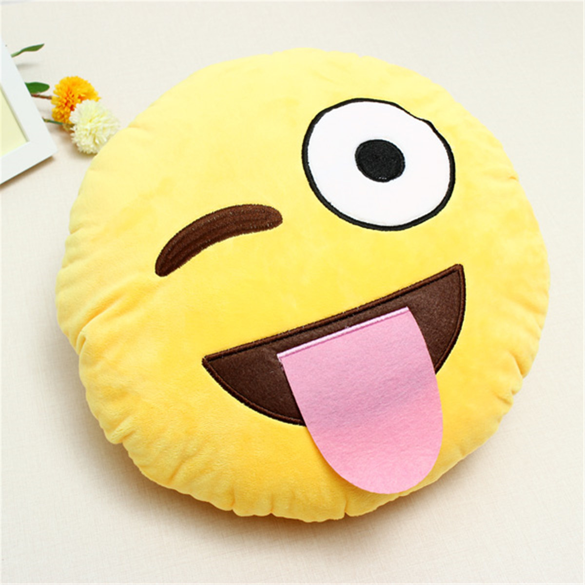 Emoji Smiley Emoticon Yellow Round Cushion Pillow Stuffed Plush Soft Toy Gift