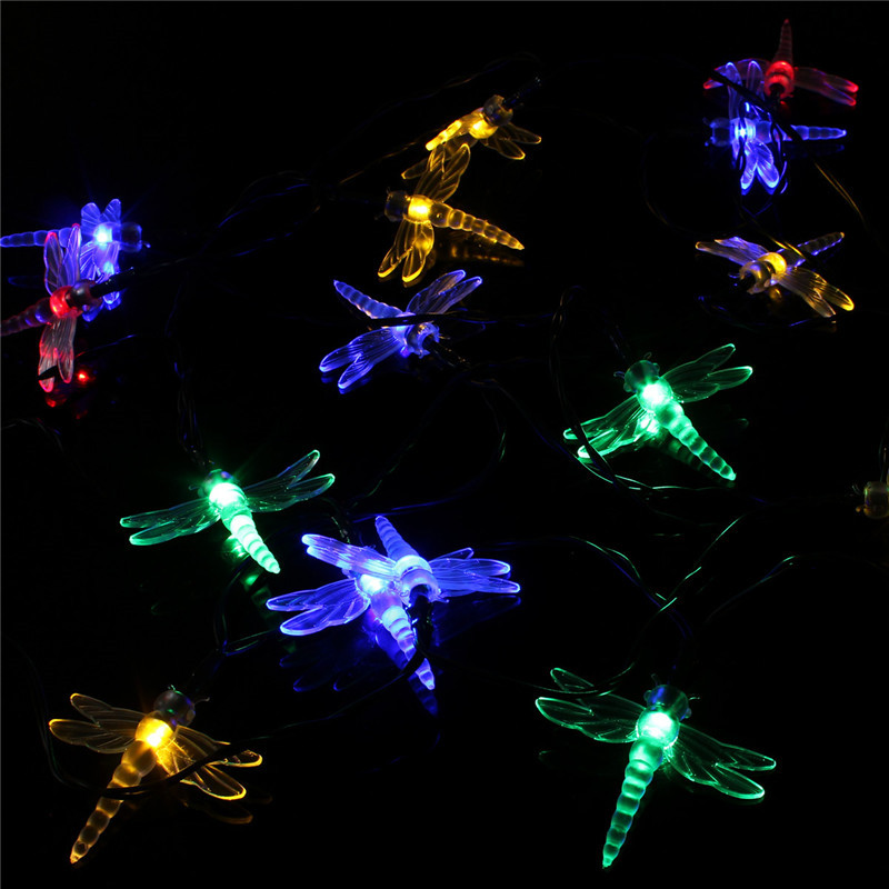 Farfalle dragonfly stringa 20 led luci solare da giardino - Luci led esterno giardino ...