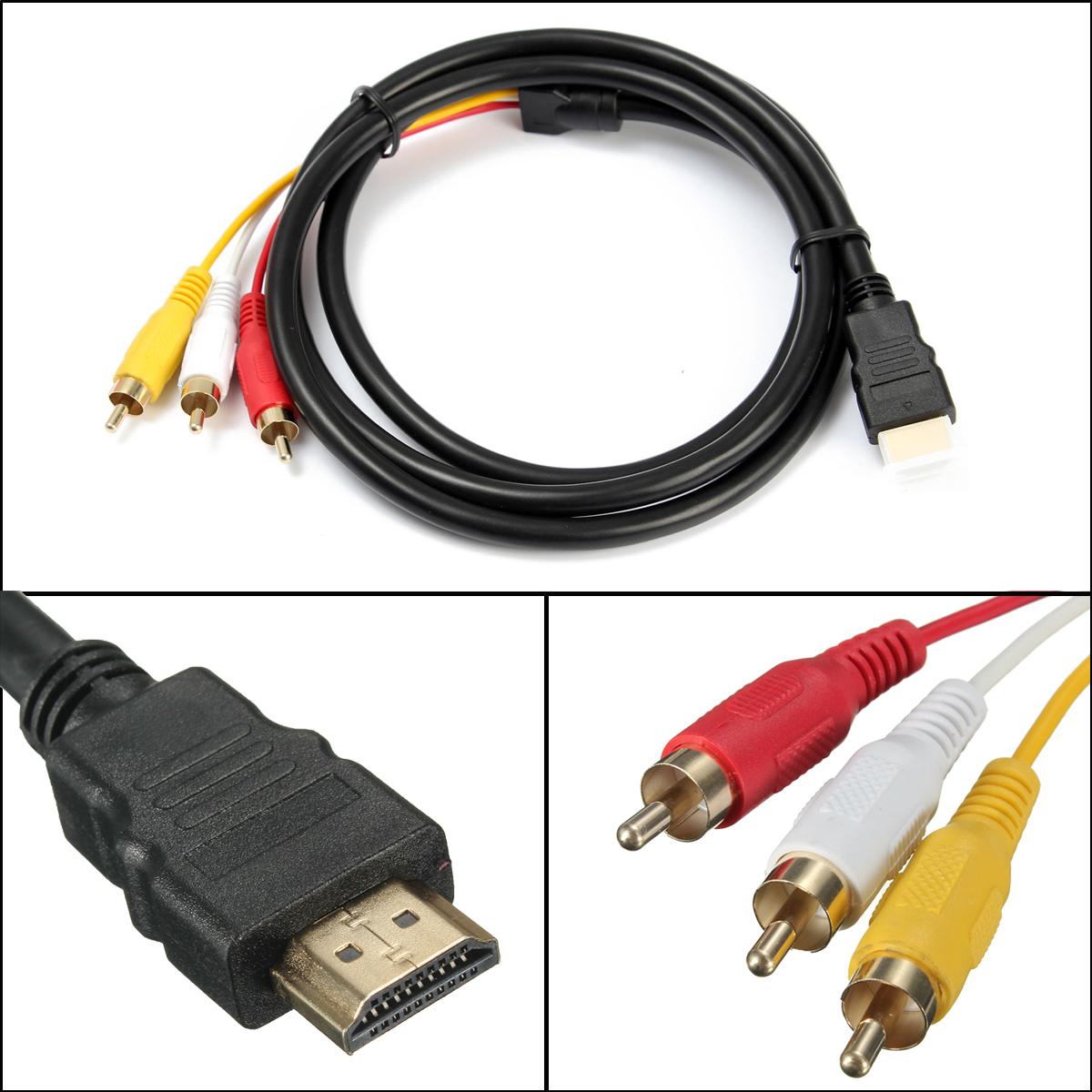 audio video av adapter cinch kabel hdmi stecker auf 3 rca. Black Bedroom Furniture Sets. Home Design Ideas