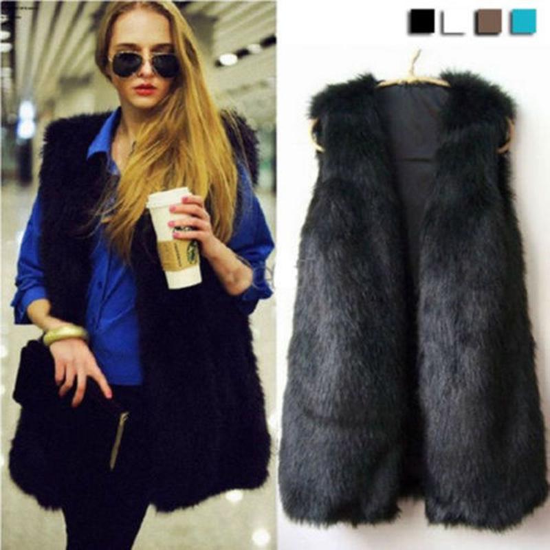 Women Faux Fur Waistcoat Gilet Jacket Coat Sleeveless Outwear Short Fashion Vest