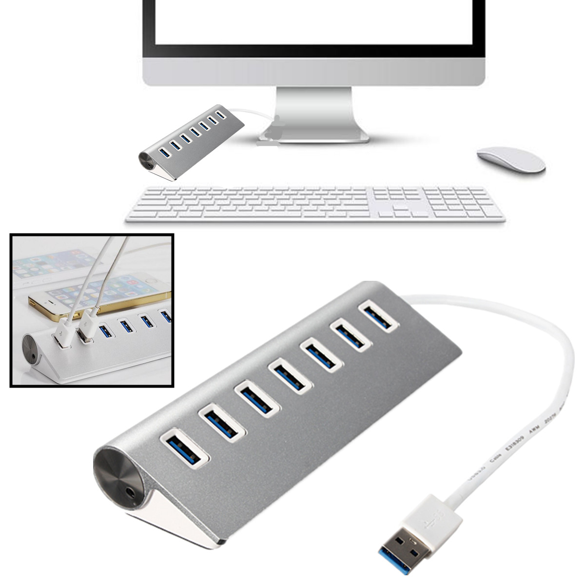 USB 3 0 Hub 7 Ports Adapter Aluminum for iPhone 6 5 MacBook Pro Mac PC Laptop | eBay