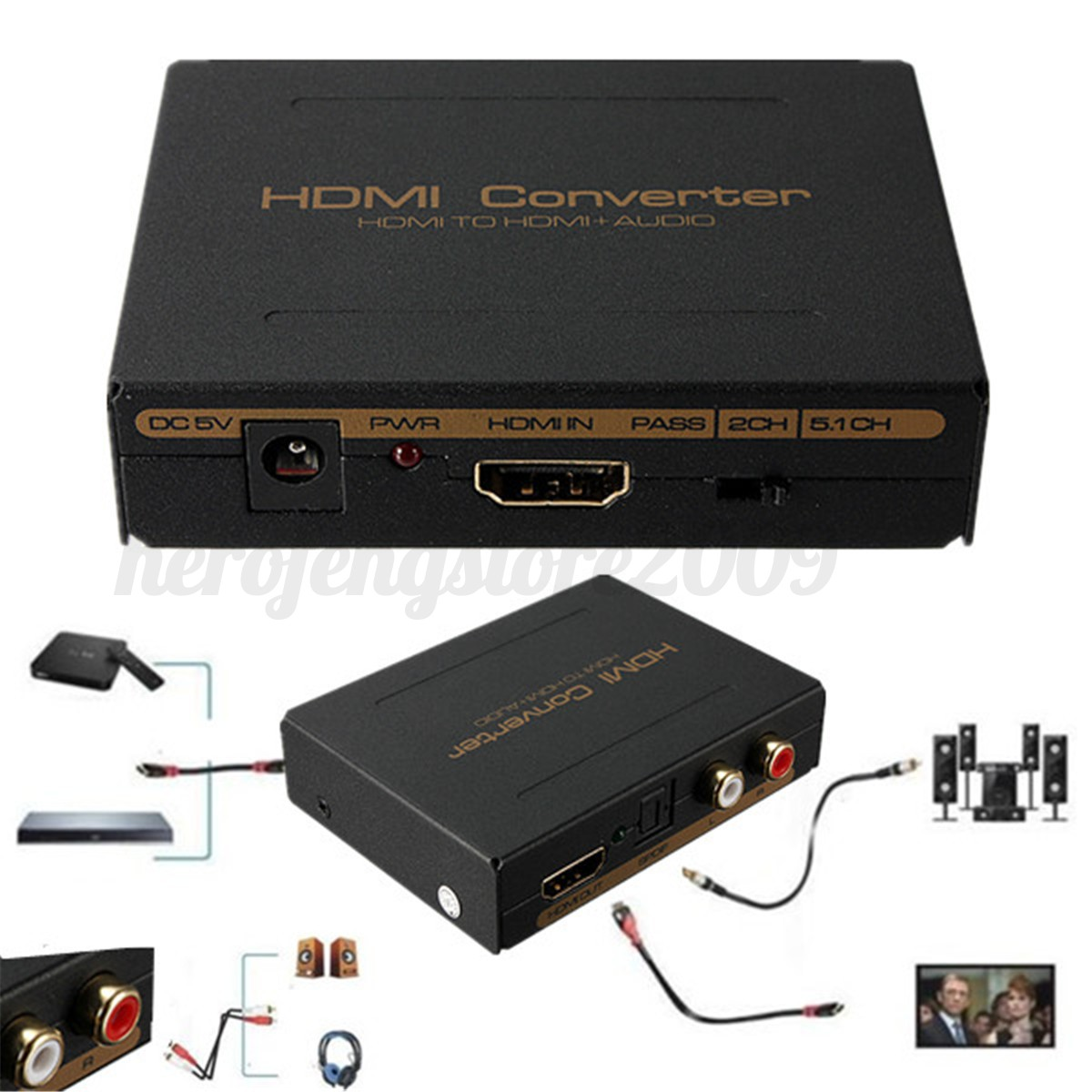 hdmi optical spdif rca l r to hdmi audio extractor. Black Bedroom Furniture Sets. Home Design Ideas