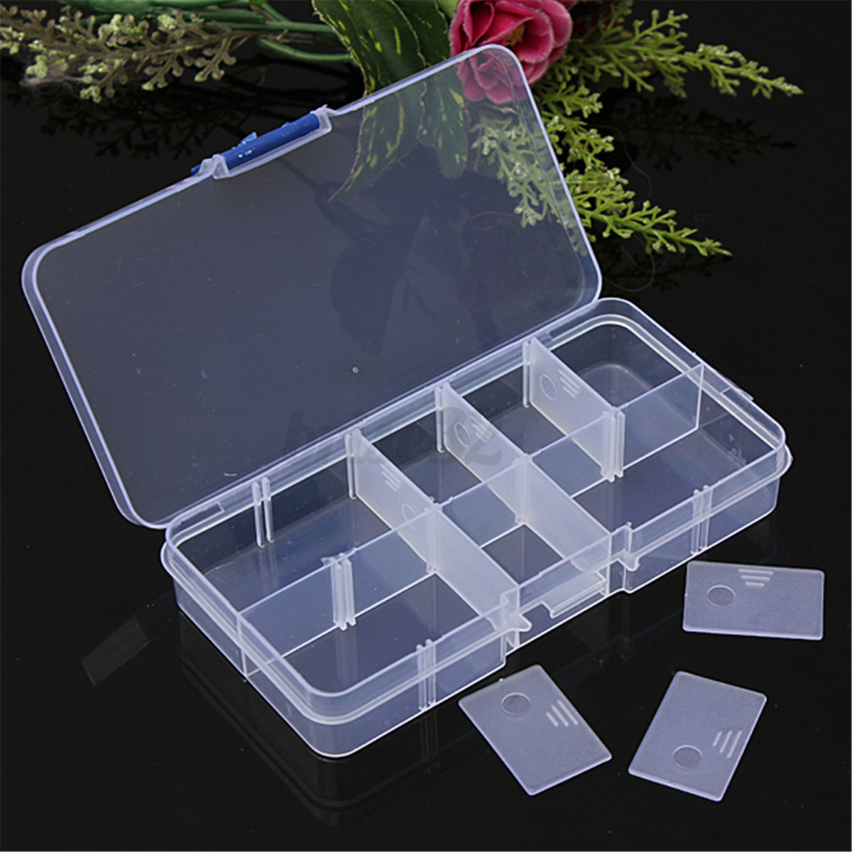 clear compartments plastic storage box case craft