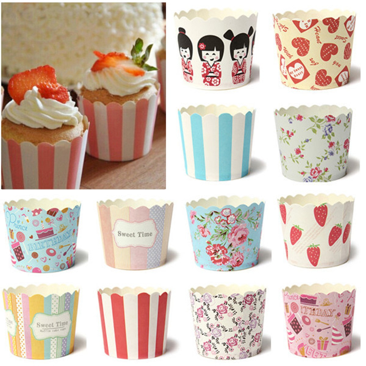 50Pcs Paper Cake Cup Cupcake Cases Liners Muffin Dessert Baking ...