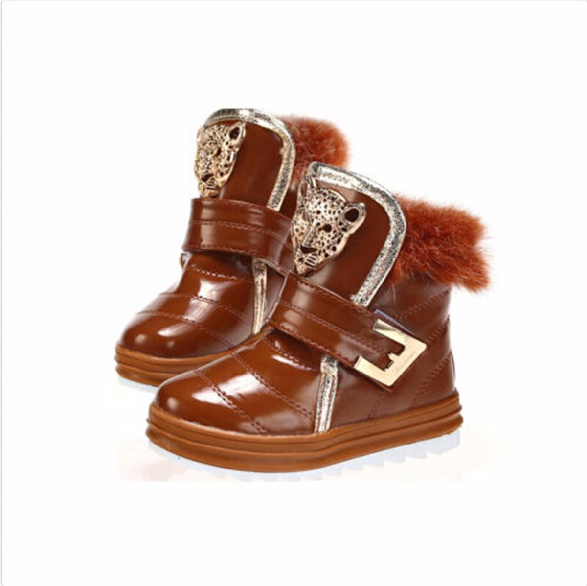 fashion winter children snow boots boy kid fur boots