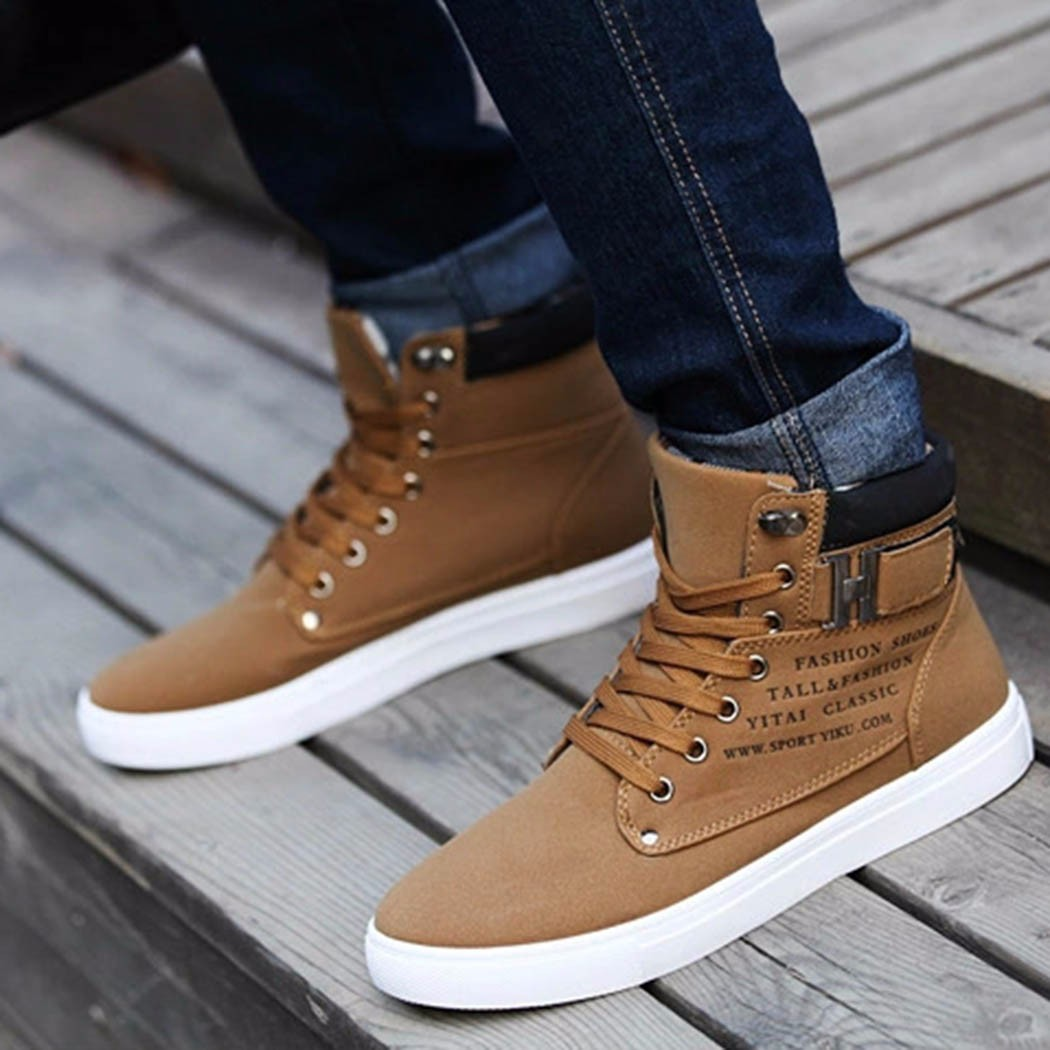 FASHION Men's Winter Warm Casual High Top Loafers Shoes ...