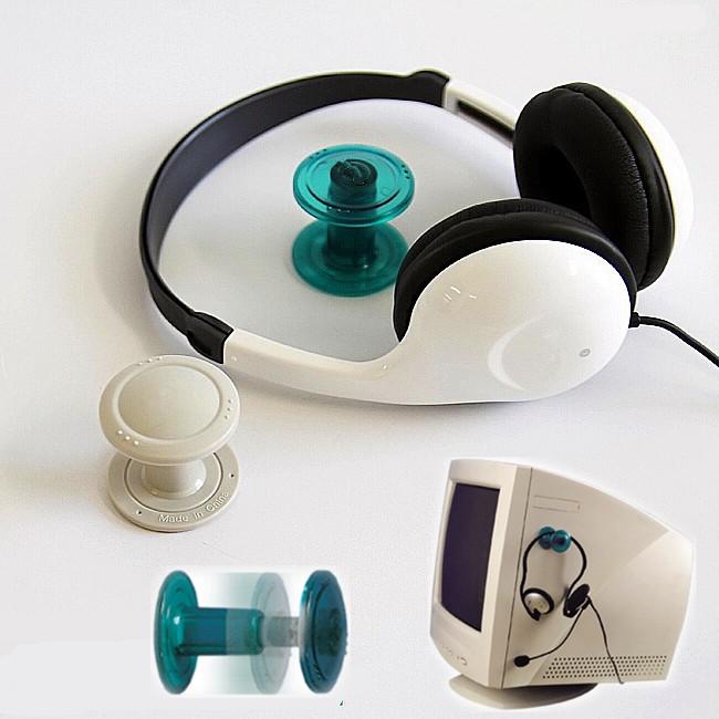 Headphone headset earphone hanger holder mount rack stand on pc monitor wall ebay - Wall mount headphone holder ...