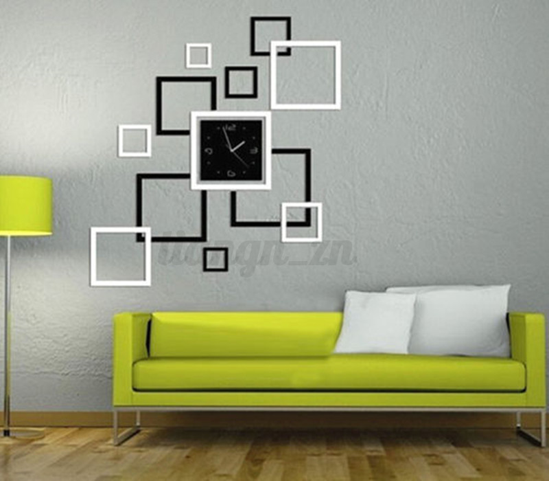horloge autocollant murale mur diy 3d pendule d cor miroir sticker papillon ebay. Black Bedroom Furniture Sets. Home Design Ideas