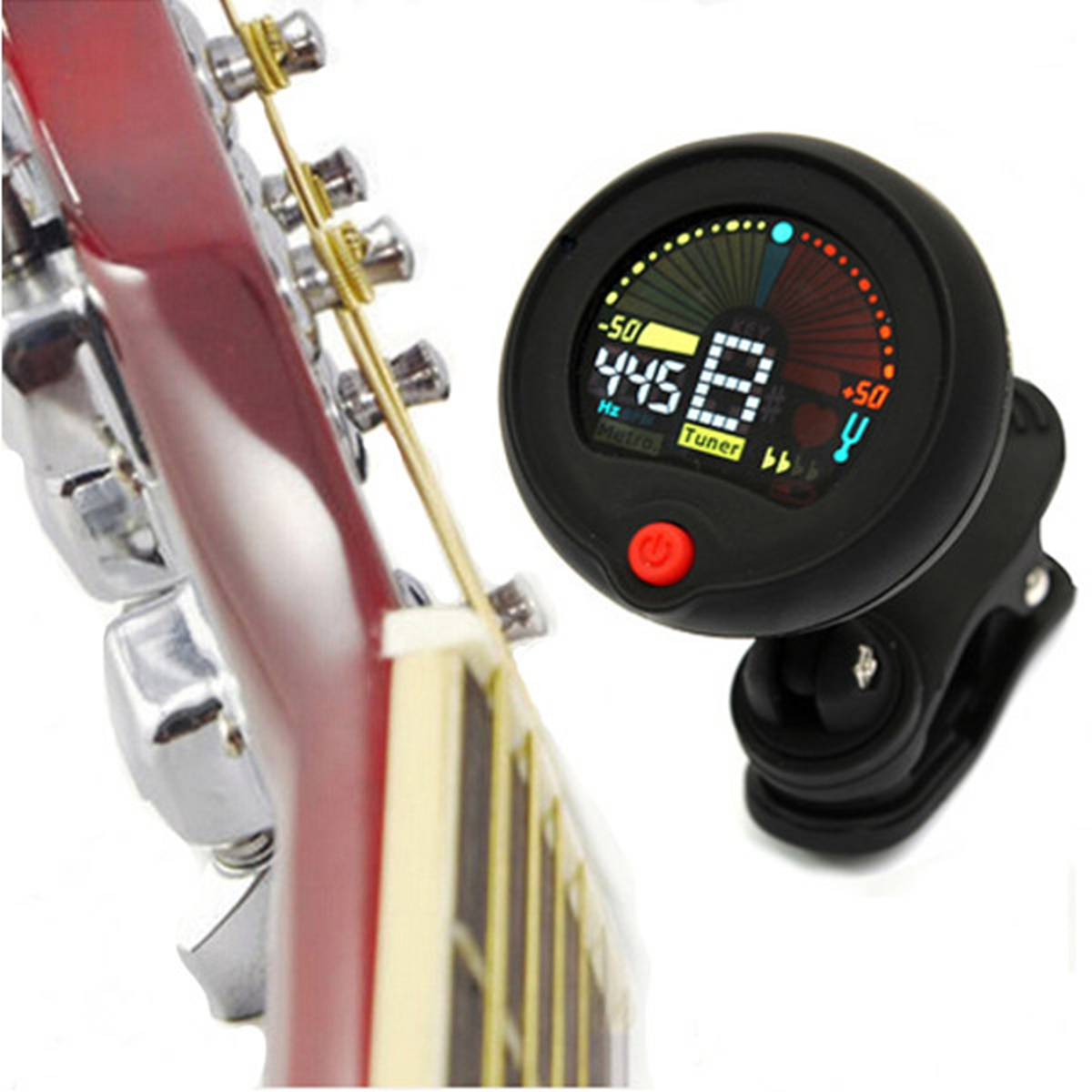 clip on chromatic tuner metronome for electric guitar bass ukulele ebay. Black Bedroom Furniture Sets. Home Design Ideas