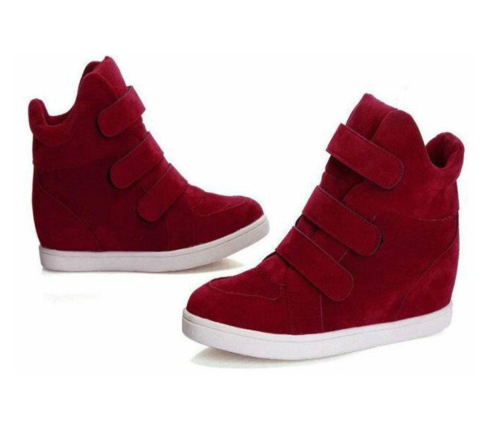 Popular Women Faux Suede Buckles Chunky LOW Heel Ankle Boots Shoes RED Without