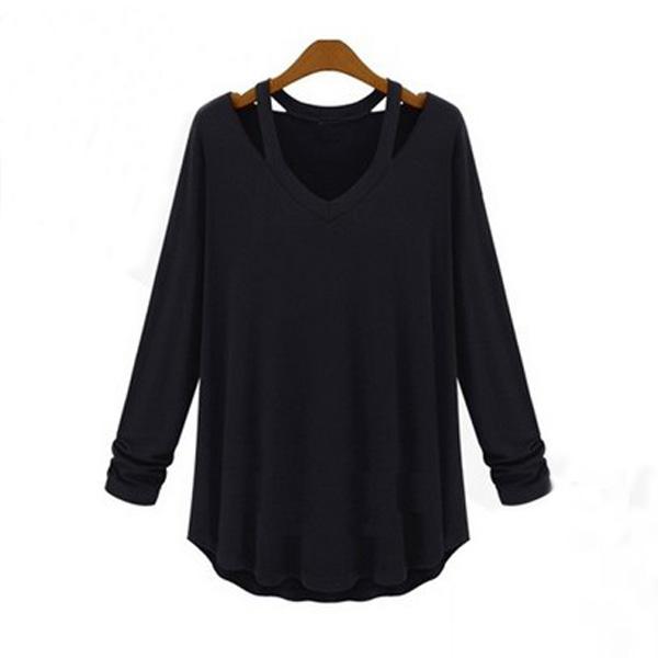 Zanzea Women Cotton Long Sleeve V Shirt Party Loose Blouse Tops Shirt Plus SIZE