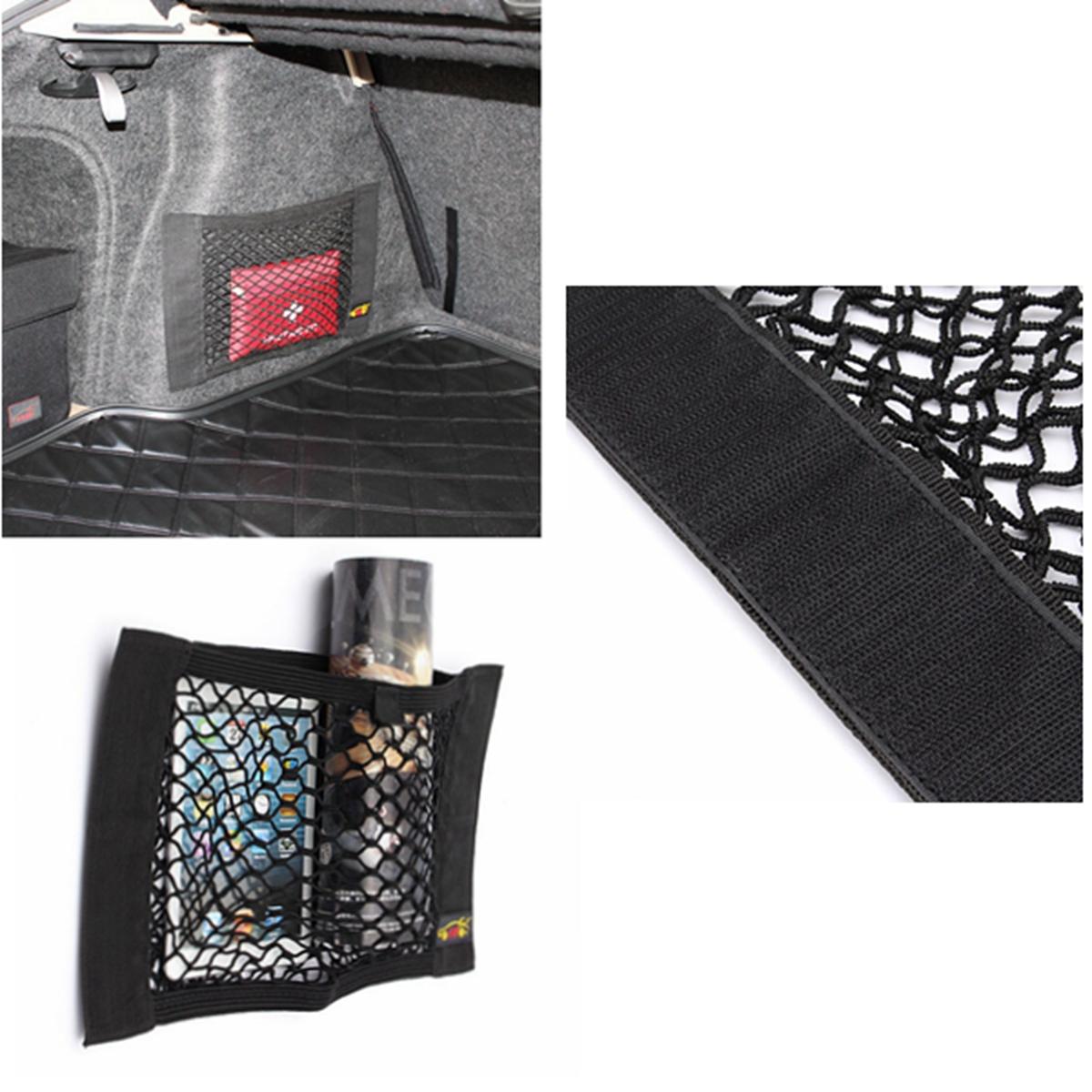 magic tape car seat back storage mesh net bag luggage holder interior sticker. Black Bedroom Furniture Sets. Home Design Ideas