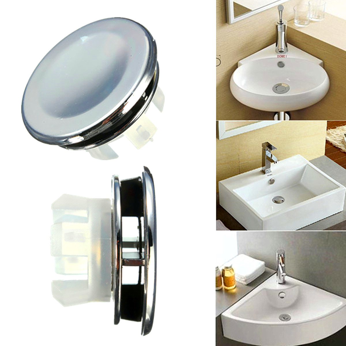 Round overflow cover tidy trim chrome for bathroom basin sink spare