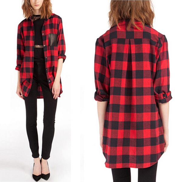 Women Scottish Tartan Plaid Top Red Black Check Lapel Shirt Blouse ...