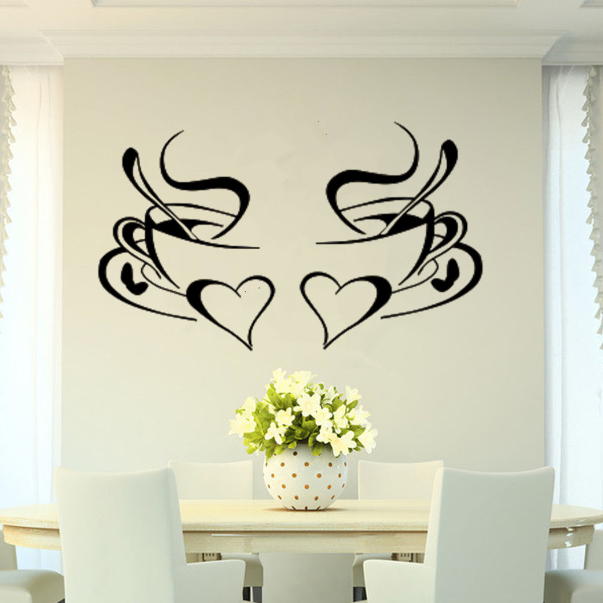wandaufkleber wandtattoo wandsticker kaffee tasse herz. Black Bedroom Furniture Sets. Home Design Ideas