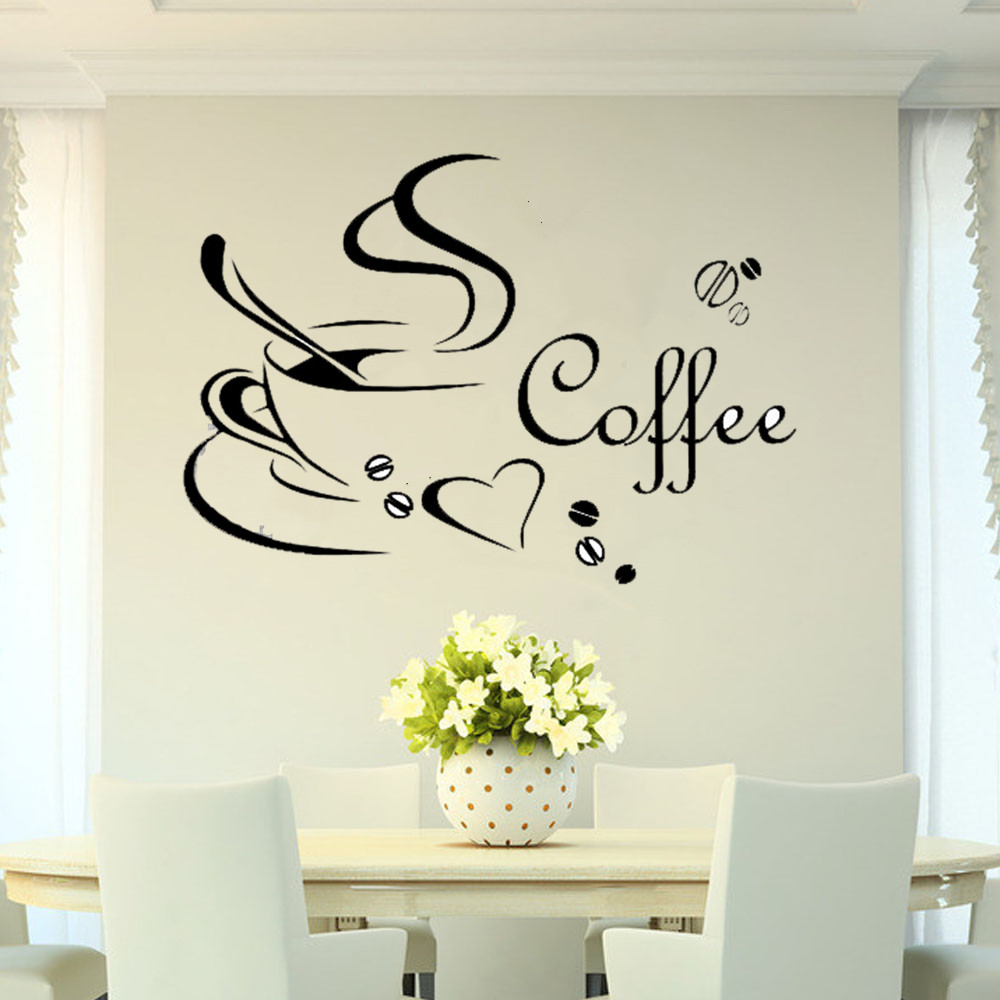 Wall Art Stickers B And Q : Hot coffee cup diy art wall sticker decal mural kitchen