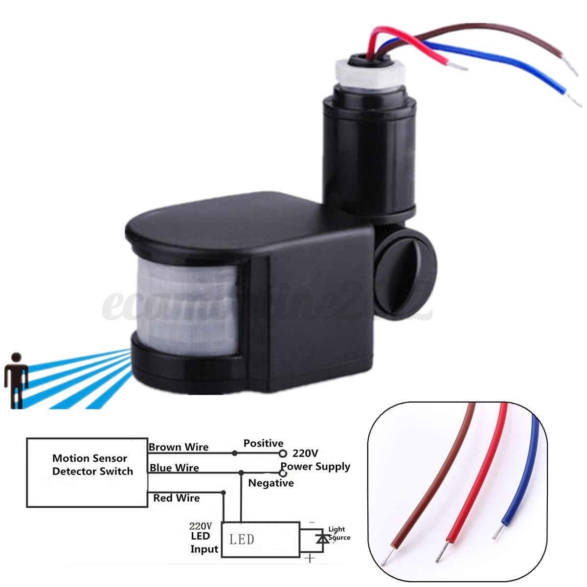 led 220v infrared pir motion sensor detector wall light auto switch 180 u00b0 12m ebay wiring motion sensor switch installing motion detector light switch