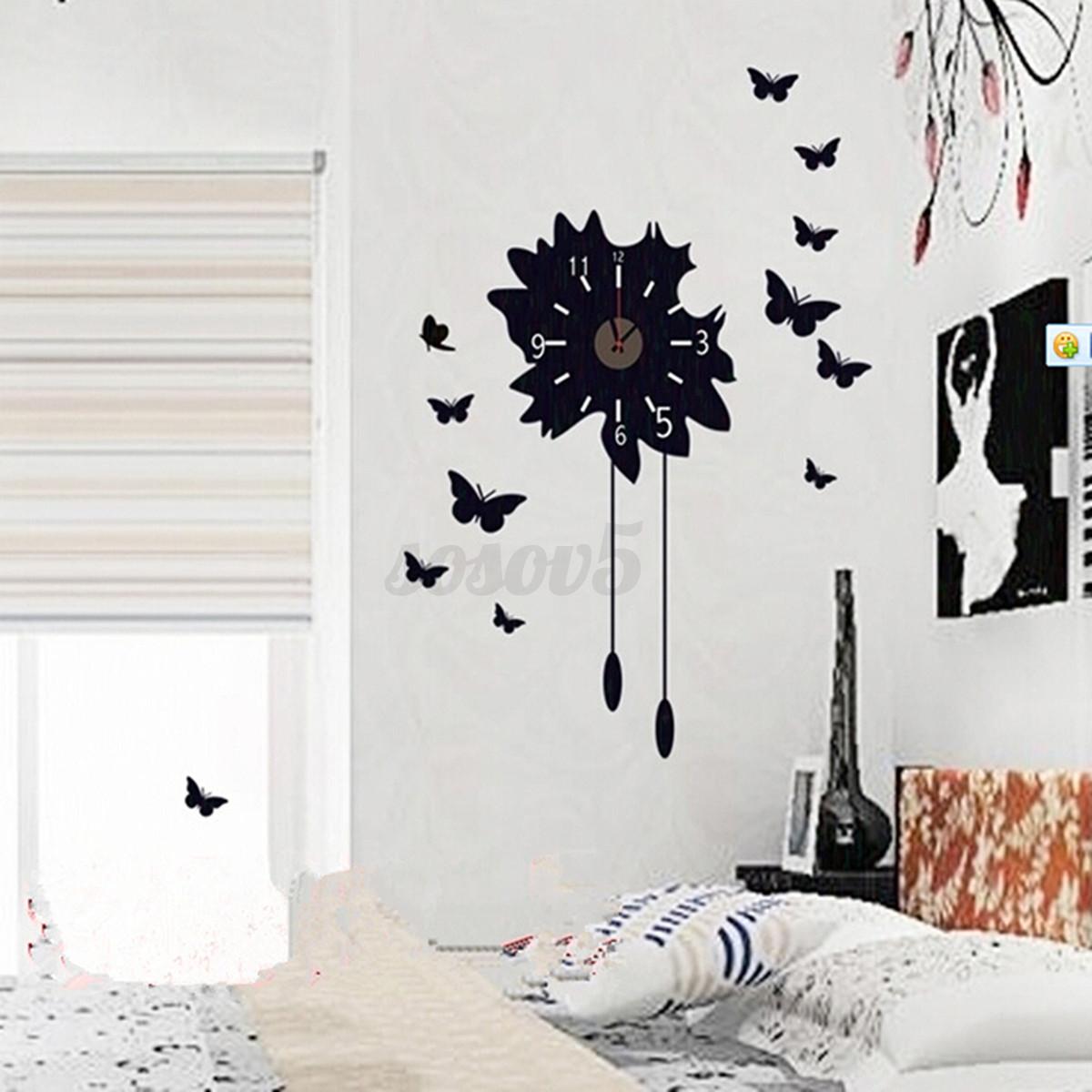 3d pared reloj mariposa pegatina de paredes vinilo decorativo adhesivo removible ebay - Reloj vinilo decorativo ...