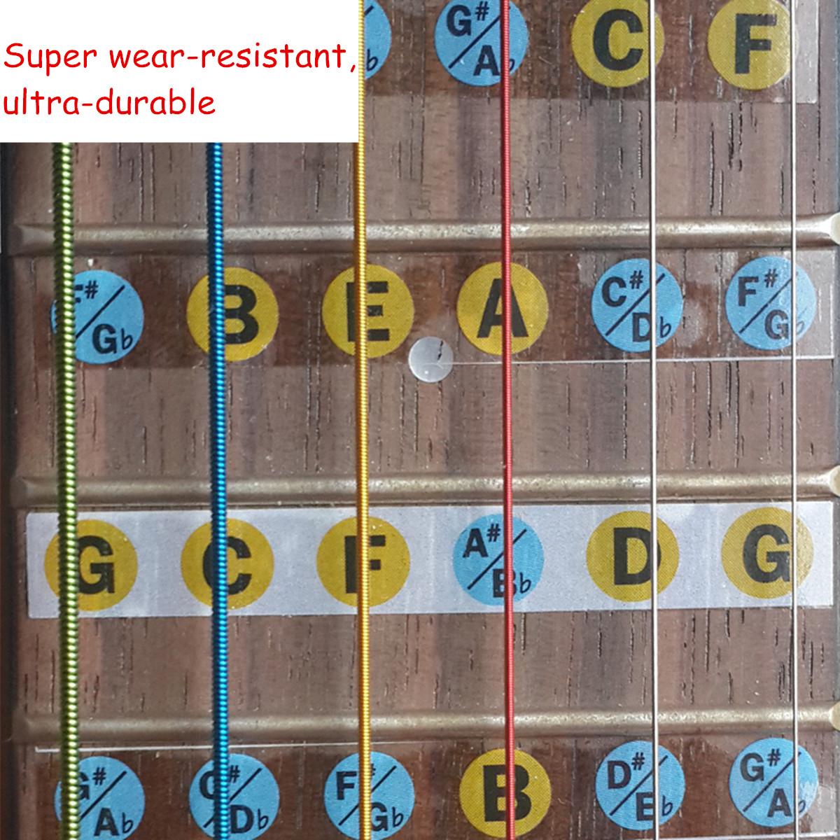 four strings bass guitar fretboard note label fret stickers supply for beginner ebay. Black Bedroom Furniture Sets. Home Design Ideas