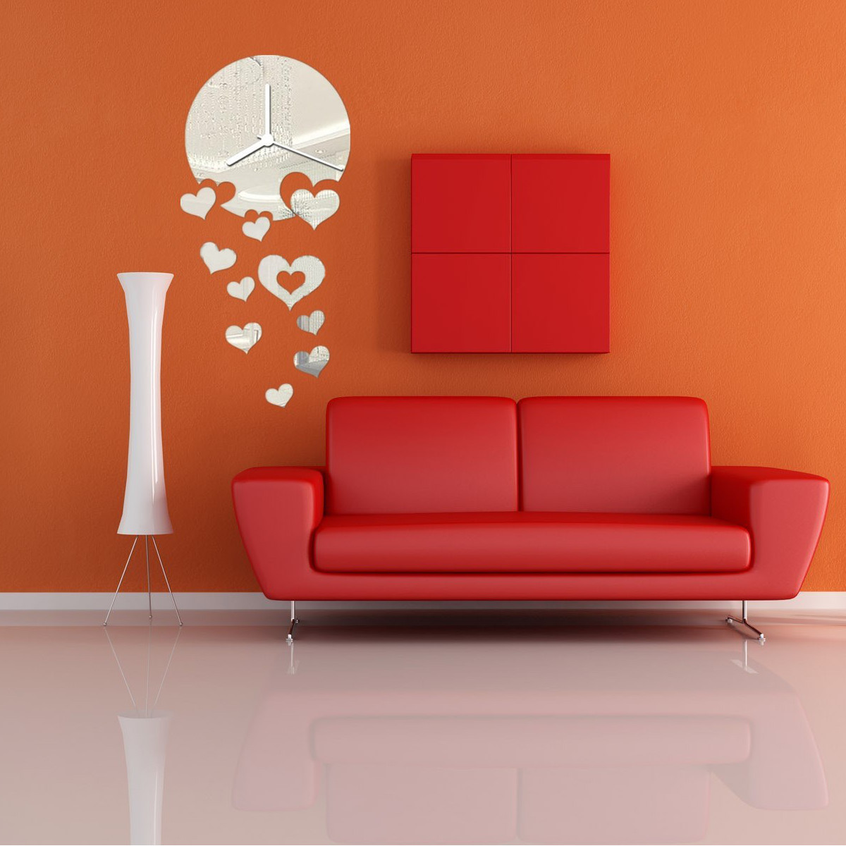 Modern Plastic Wall Decor : Modern diy frameless acrylic mirror wall clocks sticker