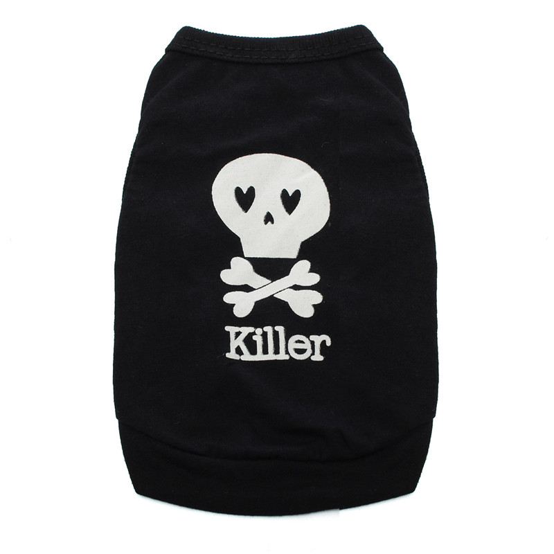 Summer Cool Puppy Dog Small Dog Cat Pet Cute Clothes Skull Vest T-Shirt Clothes