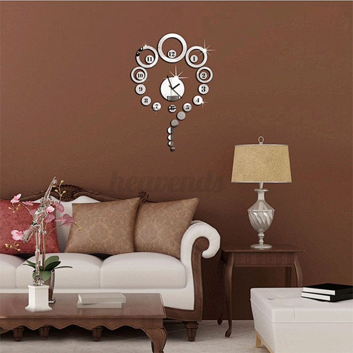 horloge pendule murale diy 3d acrylique miroir maison moderne d co autocollant ebay. Black Bedroom Furniture Sets. Home Design Ideas