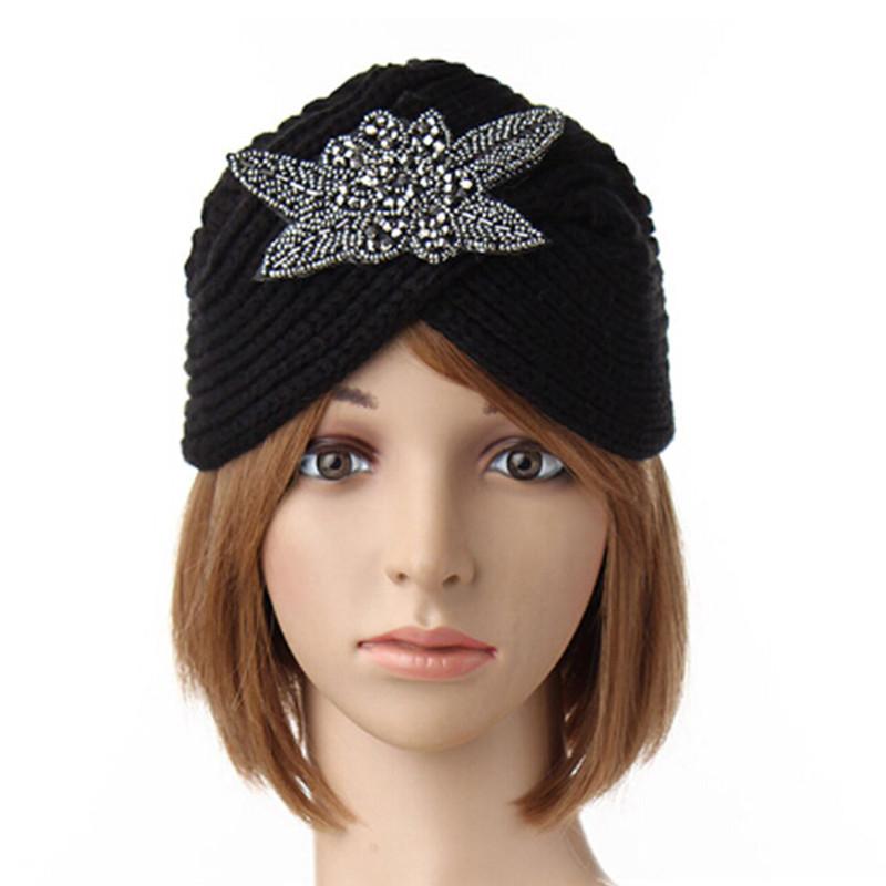 femme turban chapeau tricot crochet bonnet chaud serre. Black Bedroom Furniture Sets. Home Design Ideas