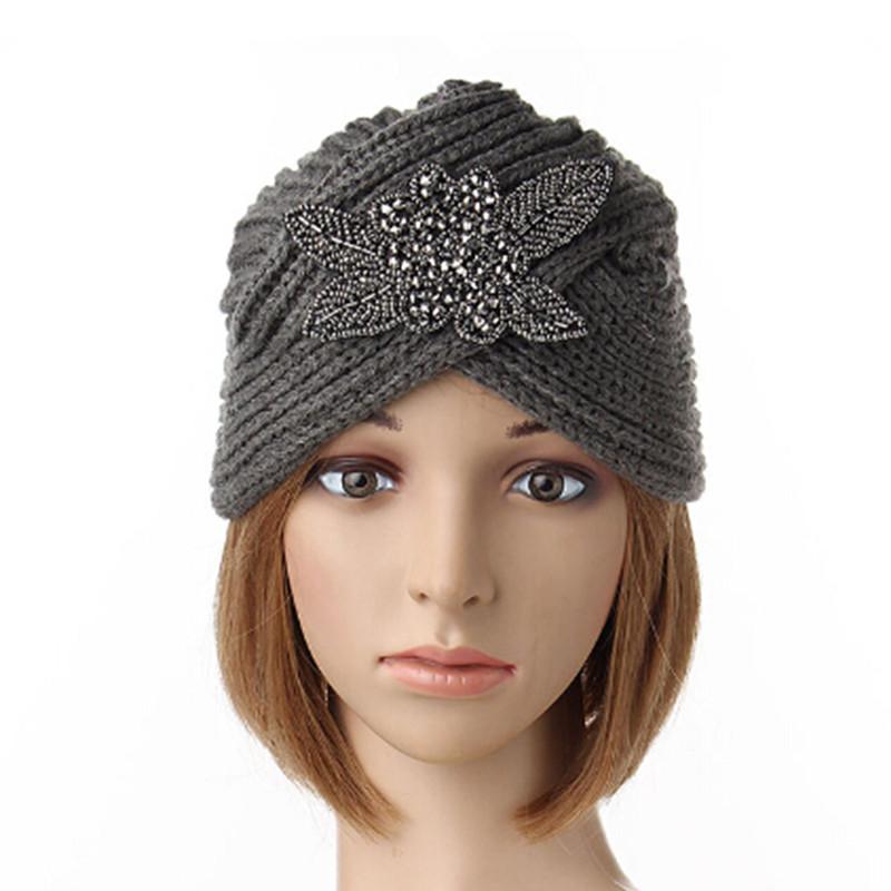 femme turban chapeau tricot crochet bonnet chaud serre t te ski hiver strass hat ebay. Black Bedroom Furniture Sets. Home Design Ideas