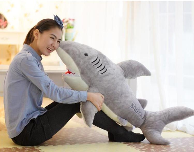 1x 70cm Cute Shark Shaped Plush Toy Pillow Back Cushion