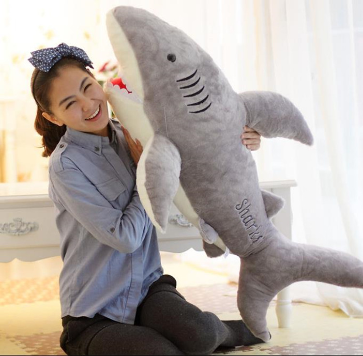 Cute Shark Pillow : 1X 70cm Cute Shark Shaped Plush Toy Pillow Back Cushion Doll Gift Animal Bolster eBay