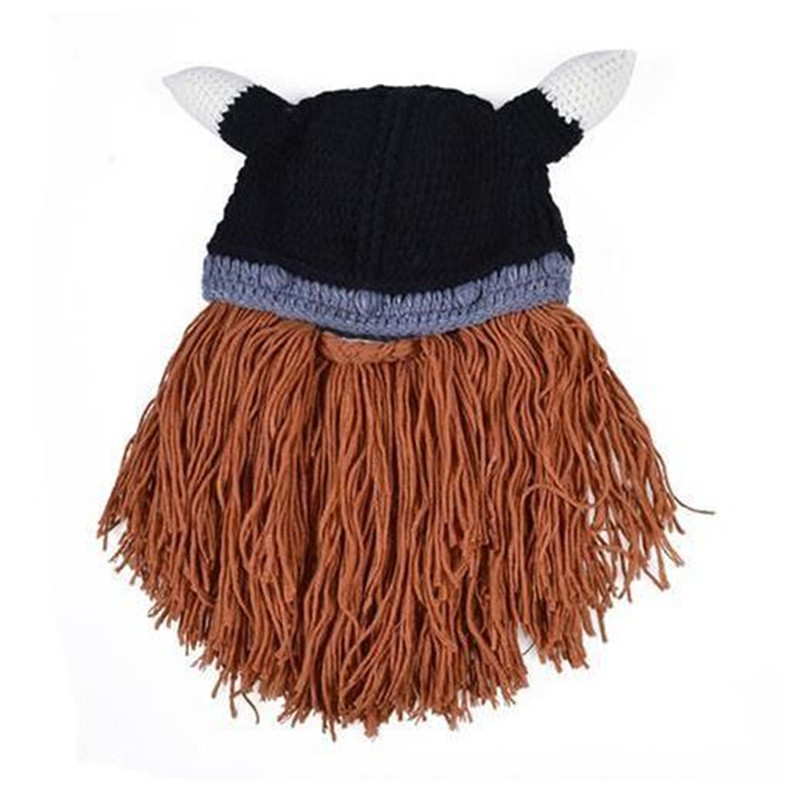 Winter Warm Beard Hat Barbarian Looter Crochet Knit Beanie Cap Vagabond Mustache