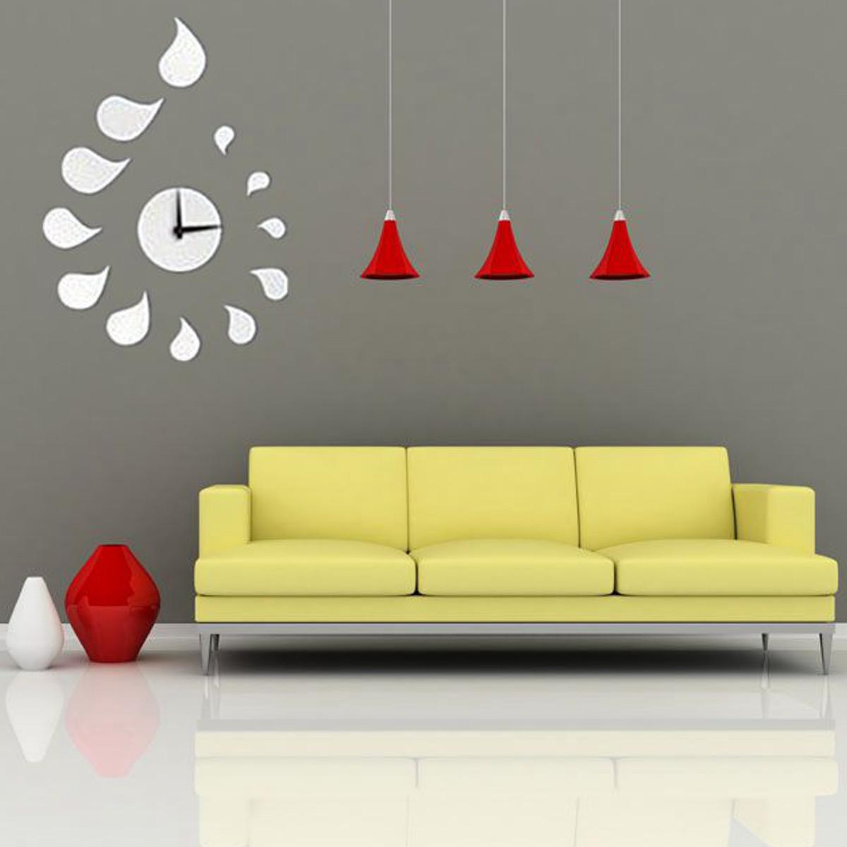 3D Modern Frameless Wall Clock Crystal Mirror Sticker Hours DIY Home ...