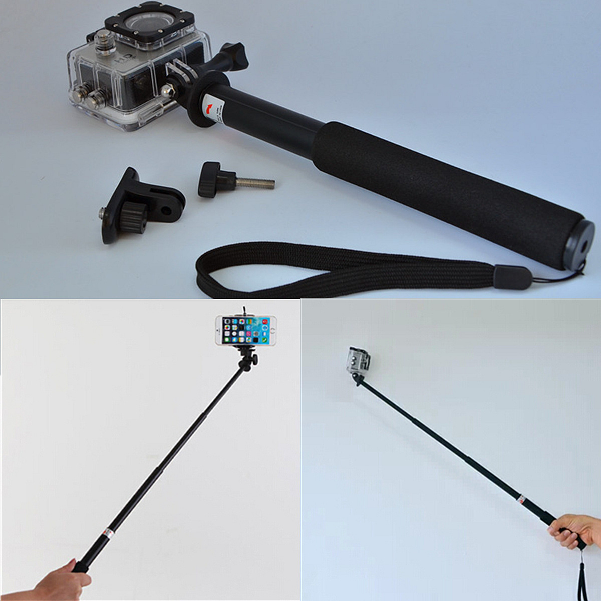 s168l selfie stick pole phone monopod for gopro hd hero sj4000 sjcam camera dslr ebay. Black Bedroom Furniture Sets. Home Design Ideas
