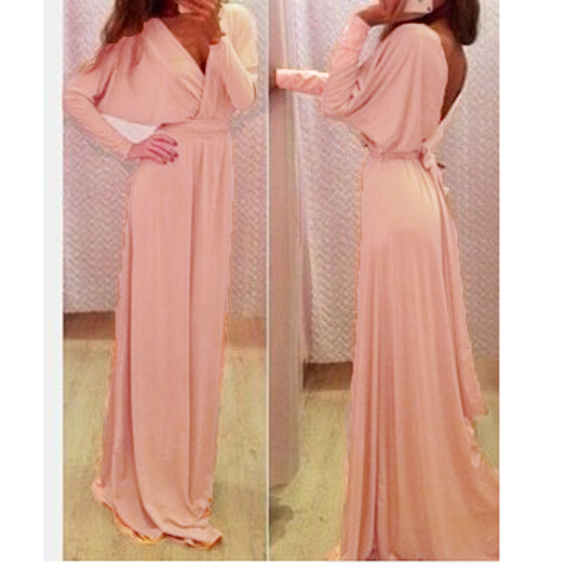 Women Fashion Sexy V-neck Backless Long Sleeve High Waist Maxi Long Party Dress