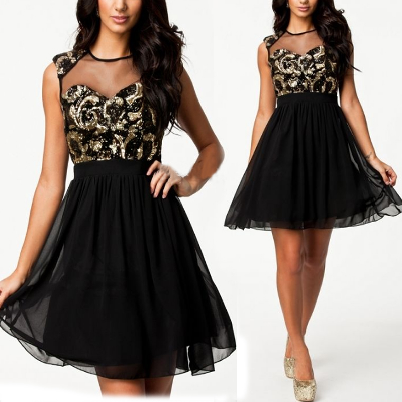 2015 Sexy Womens Lace Chiffon Sequined Bodycon Party Evening Short/Mini Dress