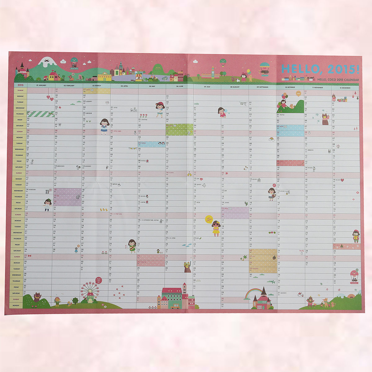 Hanging Planner Calendar : Year calendar planner daily wall schedule large size