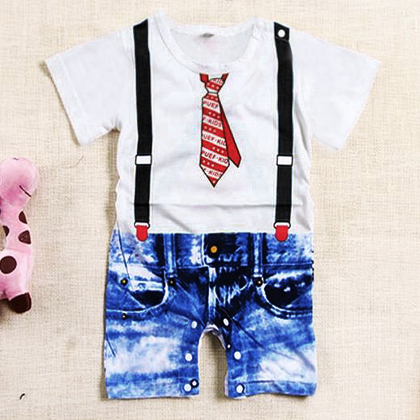 Summer Toddler Baby Boy Outfits One Piece Jumpsuit Playsuit Outfits Aged 12M-3Y