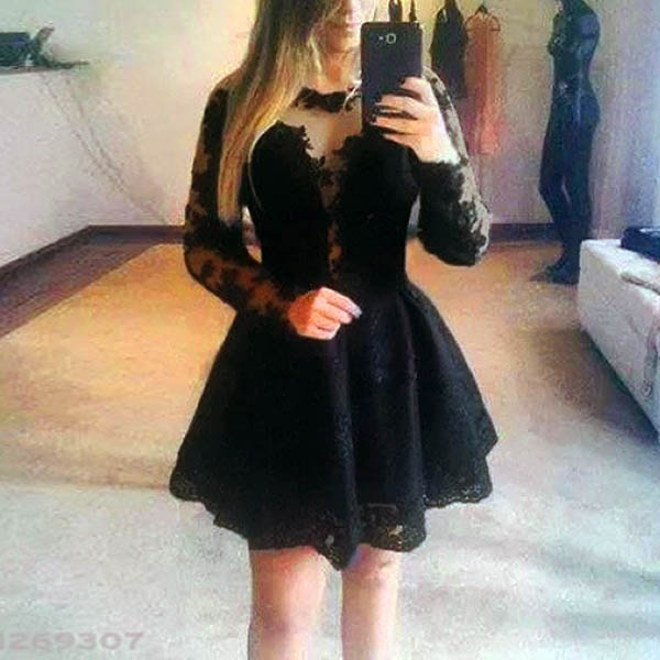 US S M L Sexy Sheer Lace Cocktail Dress Casual Pleated Mini Dress Skater Black